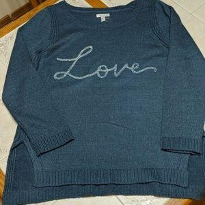 Lauren Conrad Steel Blue Tunic Sweater XL